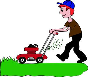 Image red headed boy. Lawn mower clipart image black and white