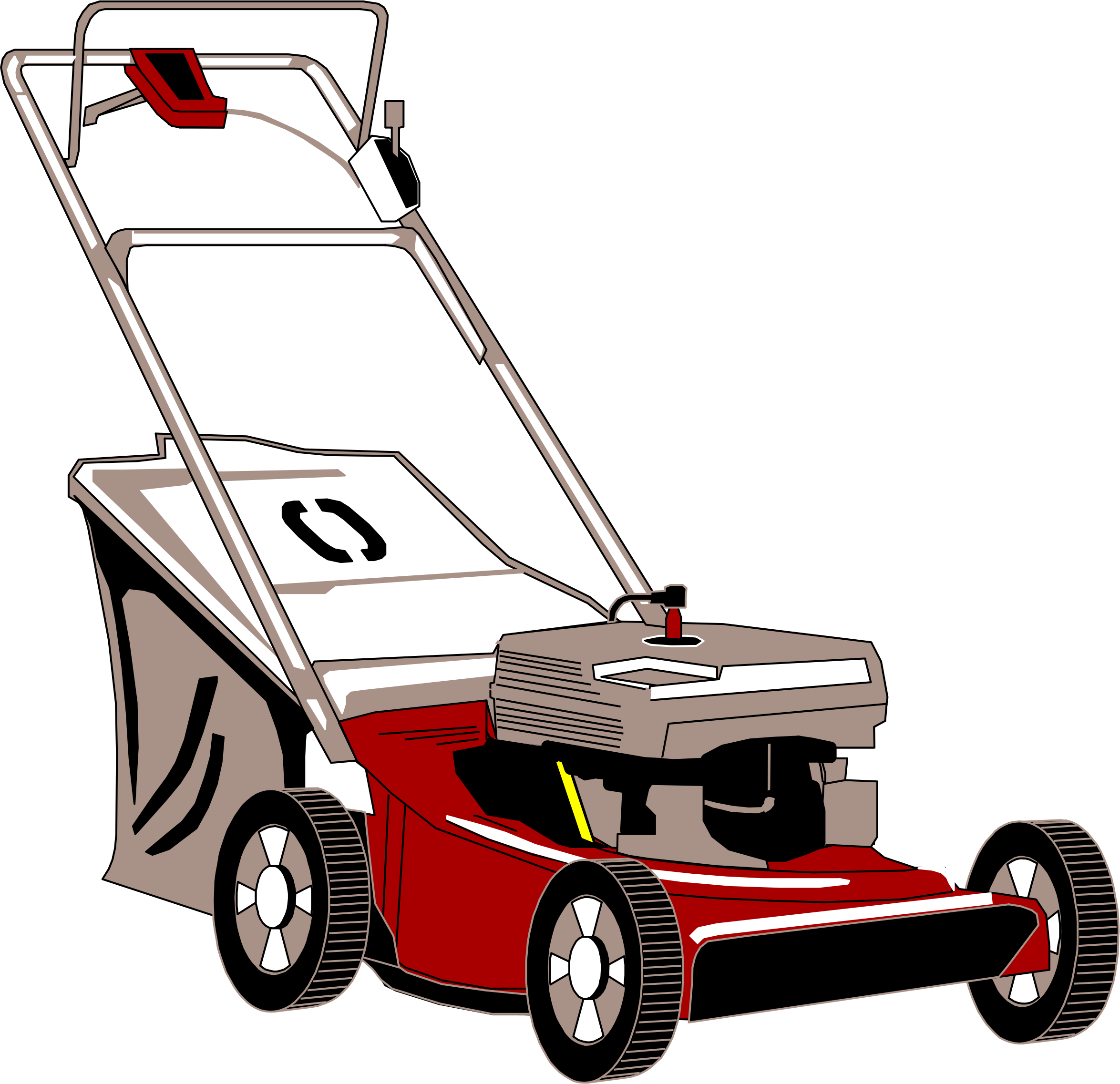 Mowing clipart small engine. Lawn mower vector