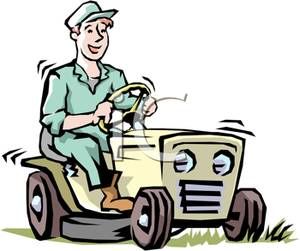 Lawn mower clipart ride on. A smiling man riding