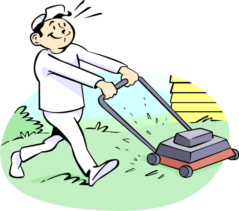 Lawn vector yard. Care worker cuts the