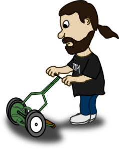 Lawnmower vector stick figure. Pushing lawn mower clip