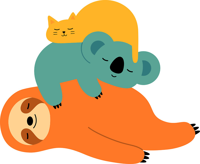 Lazy clipart chill. Pencil and in color