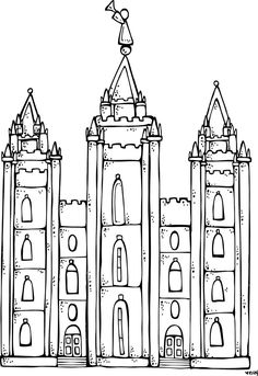 Pictures to color temple. Lds clipart coloring page image transparent