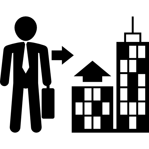 Leader vector successful businessman. With suitcase going to