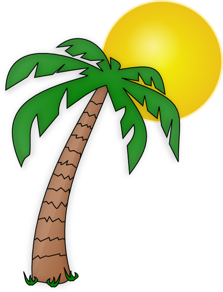 Palm tree sun png. Clip art transparent background