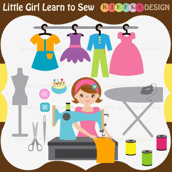 Learn clipart girl. Little to sew set