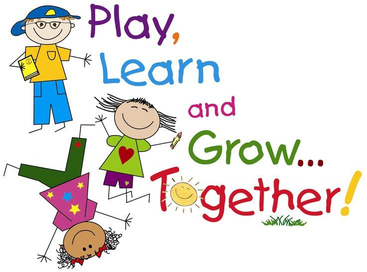 Together clipart kids. Play learn and grow