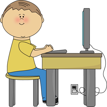 Learning clipart computer training. Student using clip art
