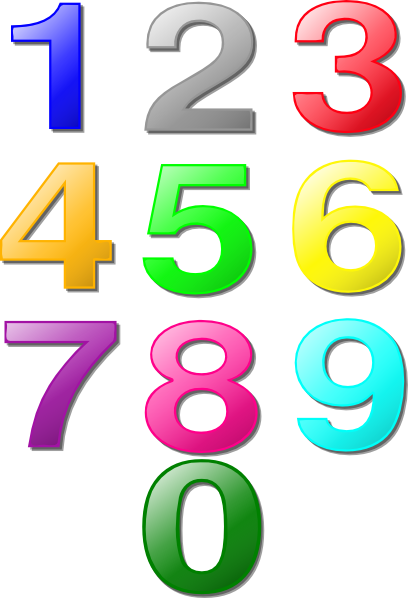Vector maths art. Colorful numbers clip online