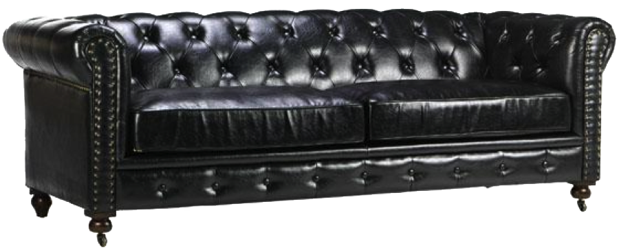 Leather couch png. Gordon black sofa event