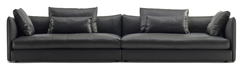 Leather couch png. Black sofa element free
