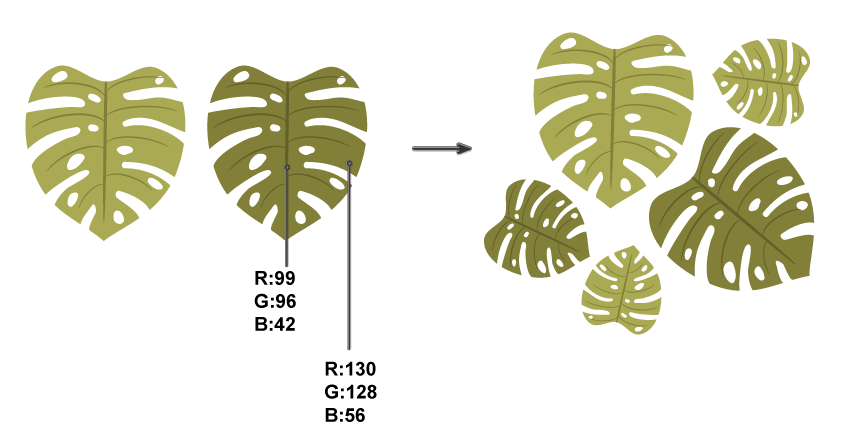 Leave vector monstera. Quick tip how to