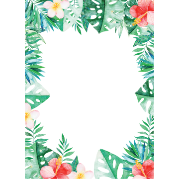 Tropical leaves watercolor png. Border images vectors and