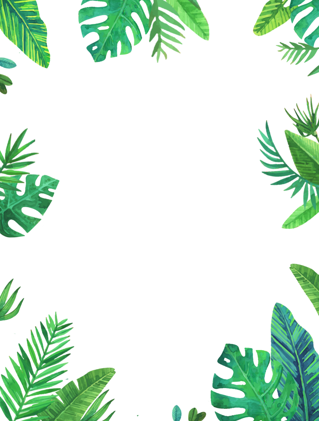 Leaves frame png. Green tropical palms ftestickers