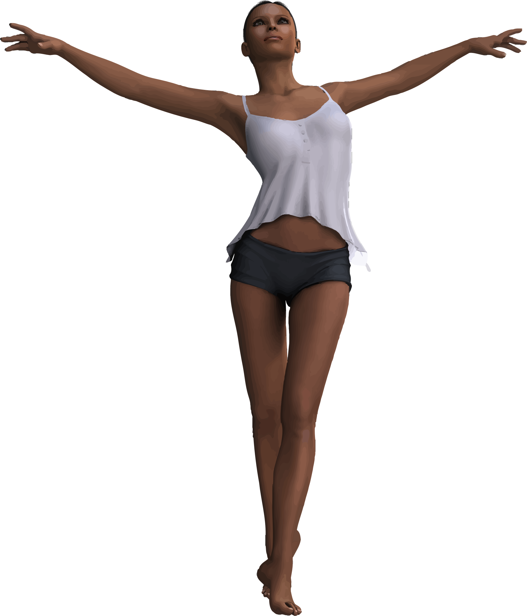Clipart woman with outstretched. Girl arms png picture freeuse download