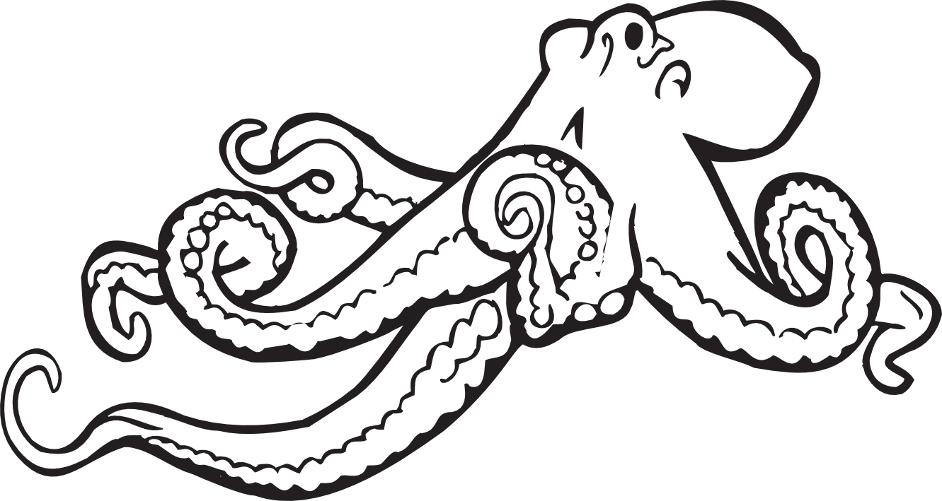 Leg vector octopus. Clipart black and white