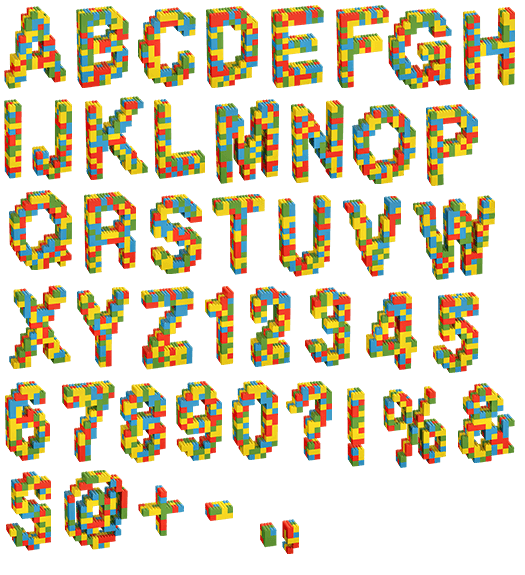 Create ttf font from png. Browse lego random color