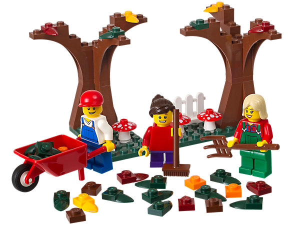 Legos transparent falling. Fall scene into seasonal