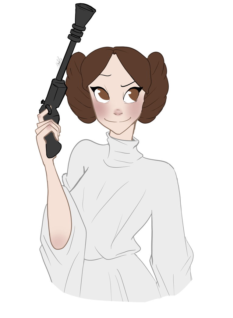 Leia drawing illustration. Princess by micropixels on