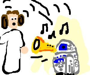Leia drawing r2d2. R d trumpets loudly