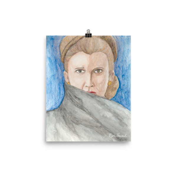 Leia drawing carrie fisher. General organa poster tribute