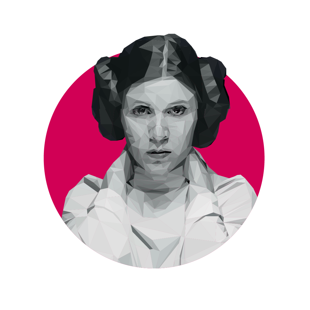 Leia drawing carrie fisher. Princess low poly on