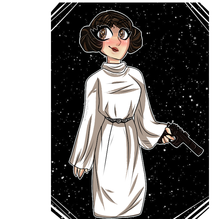 Leia drawing tribute. Carrie fisher by starlorrd
