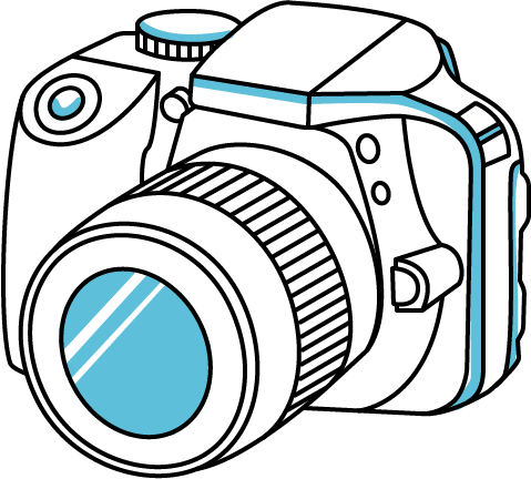 Lens drawing animated camera. Convert your holiday snaps