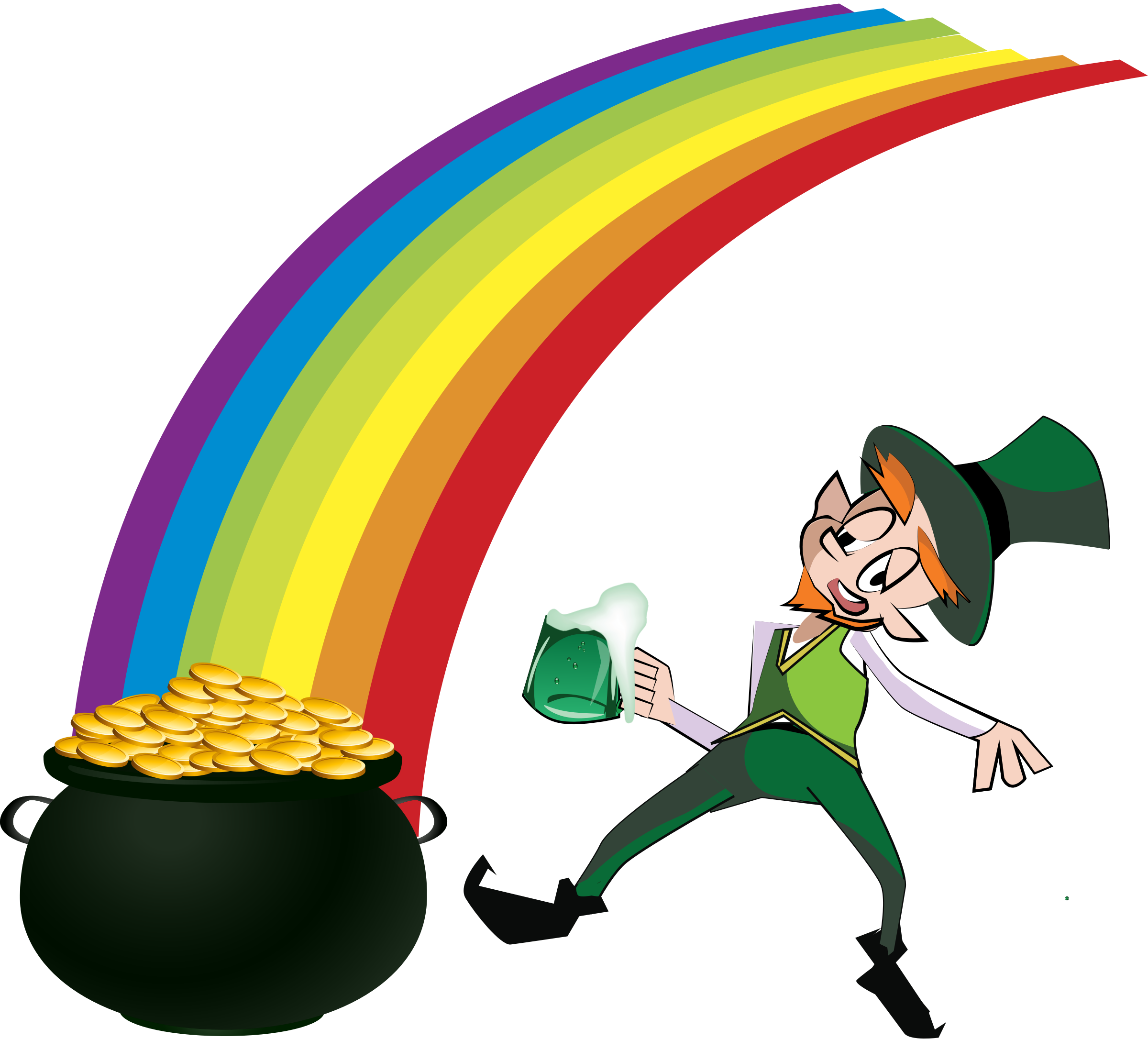 Leprechaun rainbow gold png. And clipart at getdrawings