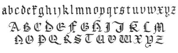 Drawing alphabet simple. Calligraphy letter styles clipart