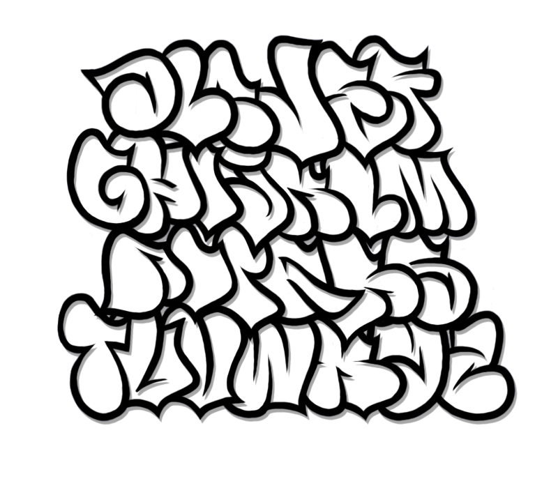 Vector style graffiti. Free graphic letters of