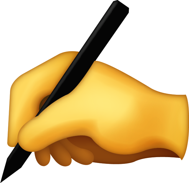 Writing hand png. Download iphone emoji icon