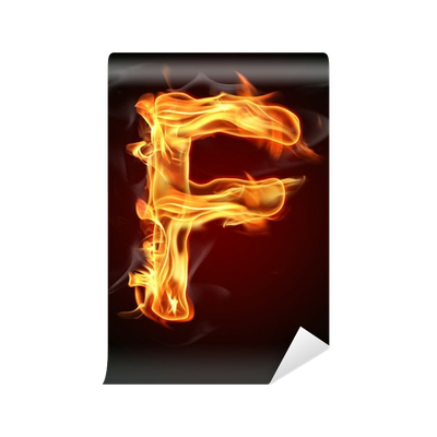 Letter f fire png. Wall mural pixers we
