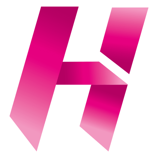 H vector origami. Letter isotype transparent png