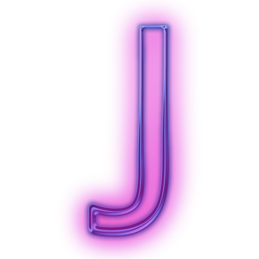 Transparent j neon. Letter icons png vector