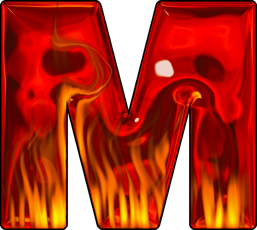 Letter m fire png. Presentation alphabets hot