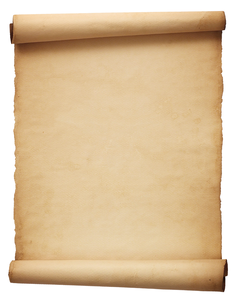 Old parchment paper png. Roll rolled background