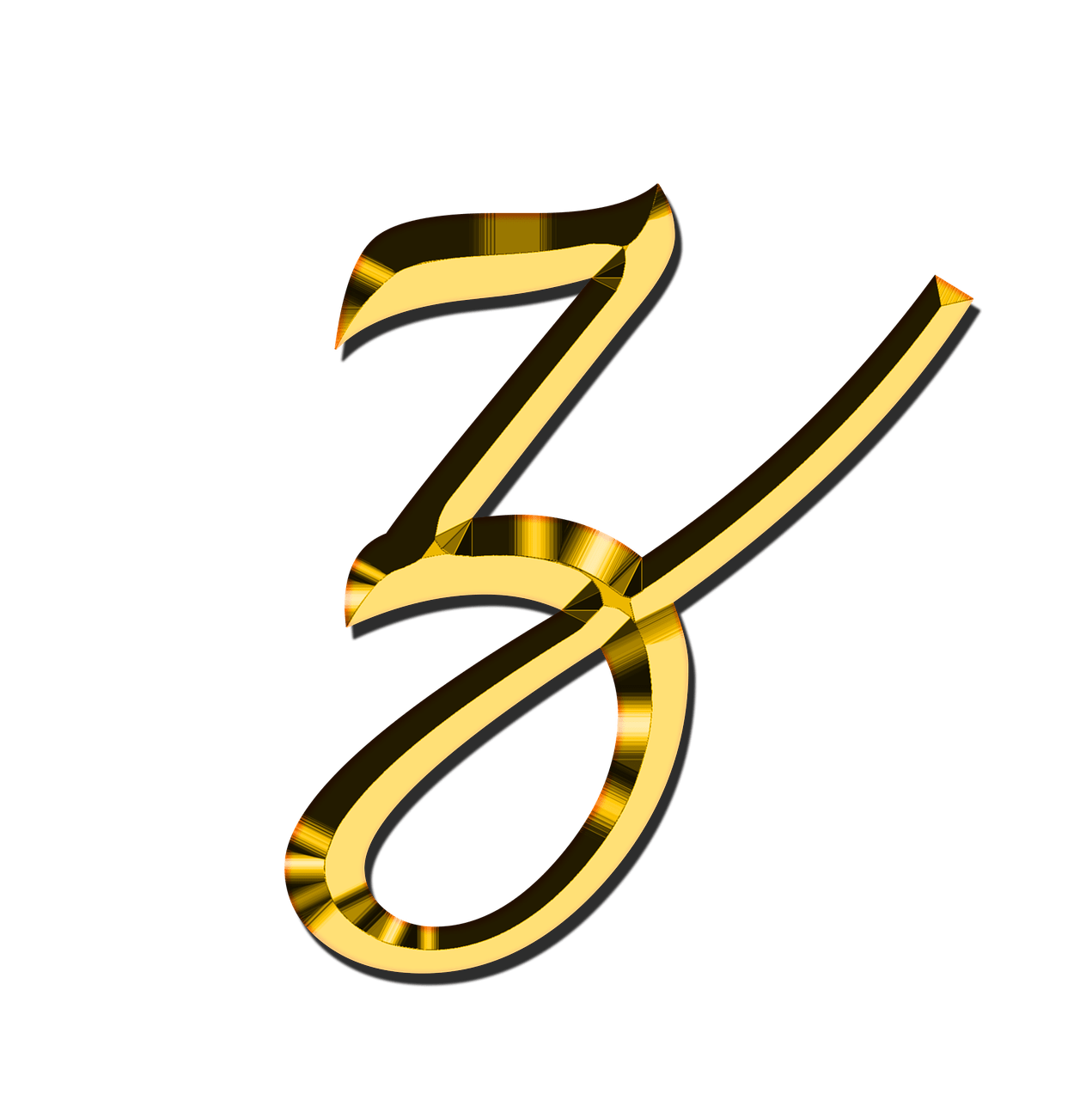 Transparent z gold. Small letter png stickpng