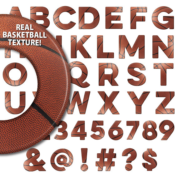Letters clipart basketball. Alphabet font numbers symbols