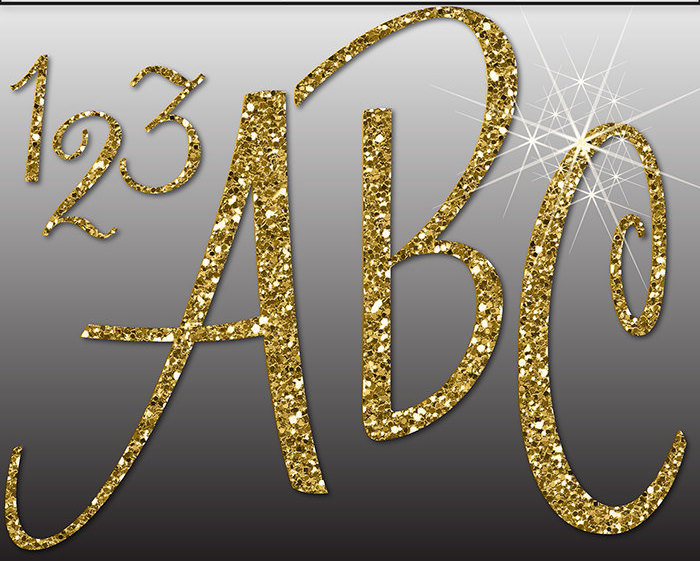 Letters clipart glitter. Gold alphabet digital numbers