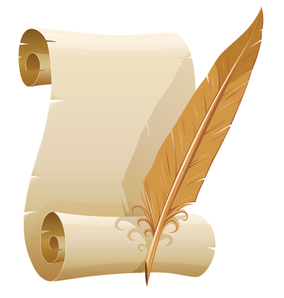 Scrolled paper and quill. Beautiful clipart sash free
