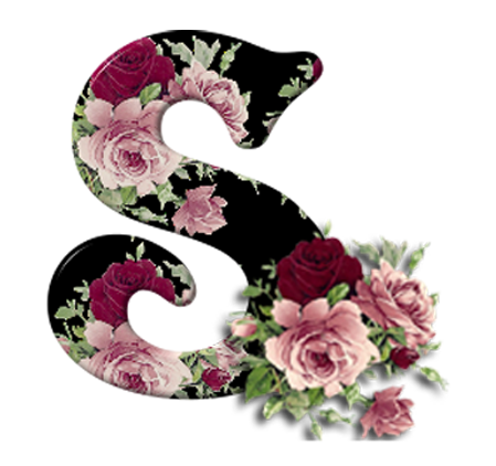 Letters vector flower. Letter s with flowers