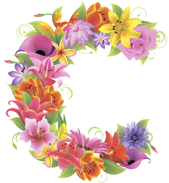 Letters with flowers png. C english alphabet