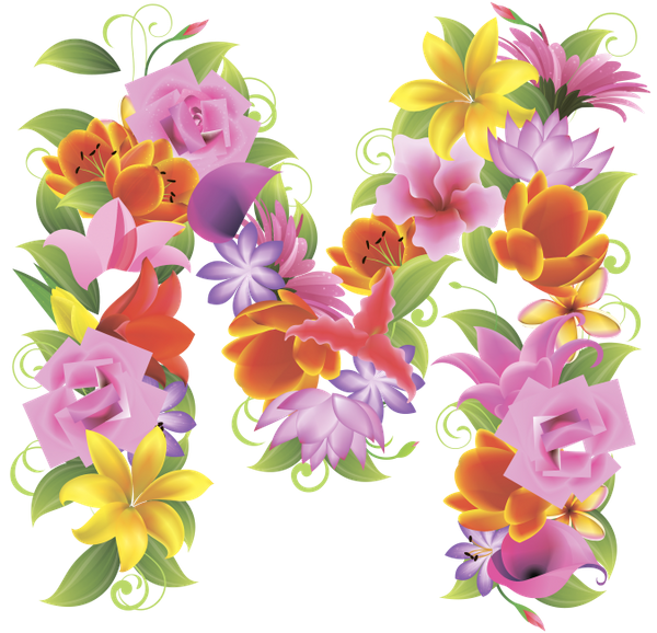 Letters with flowers png. M download free