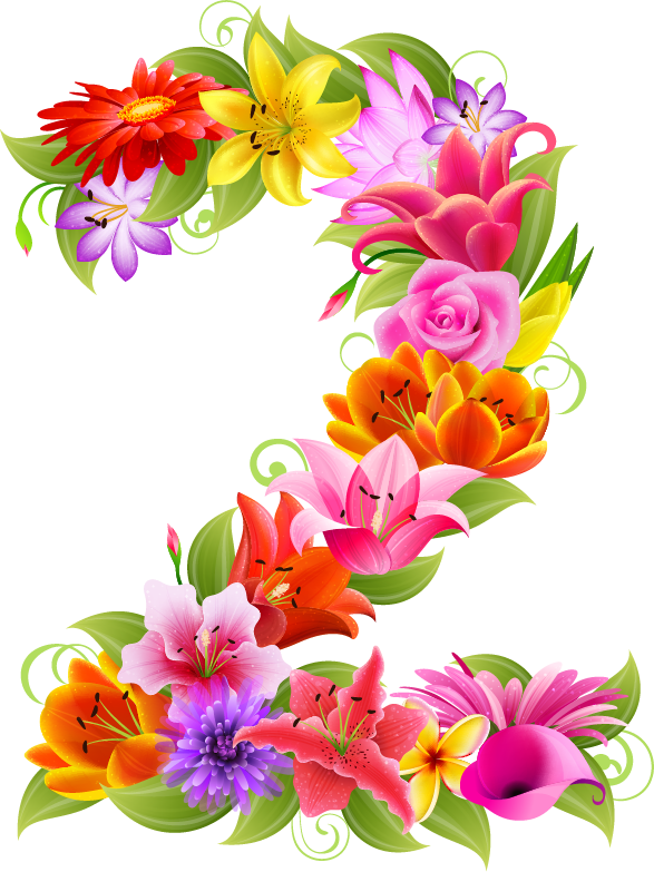 Letters with flowers png. D a e