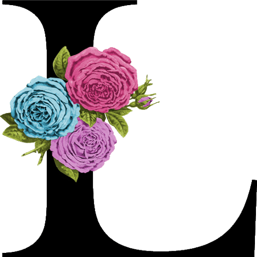 Letters with flowers png. Single letter monogram create