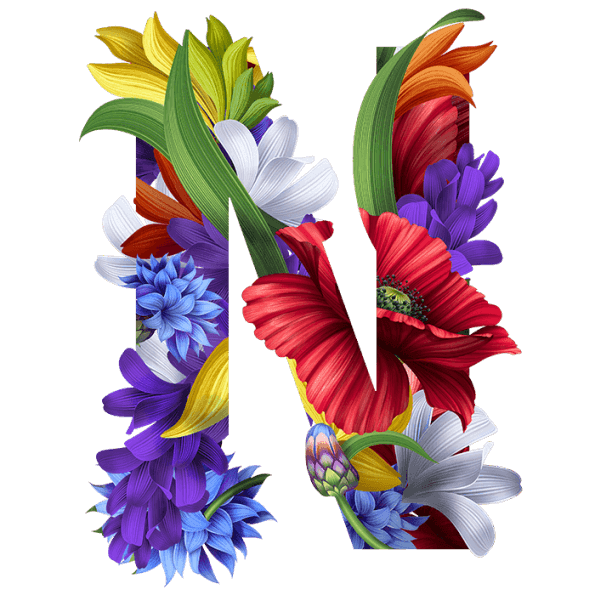 Letters with flowers png. Wacomka font handmadefont