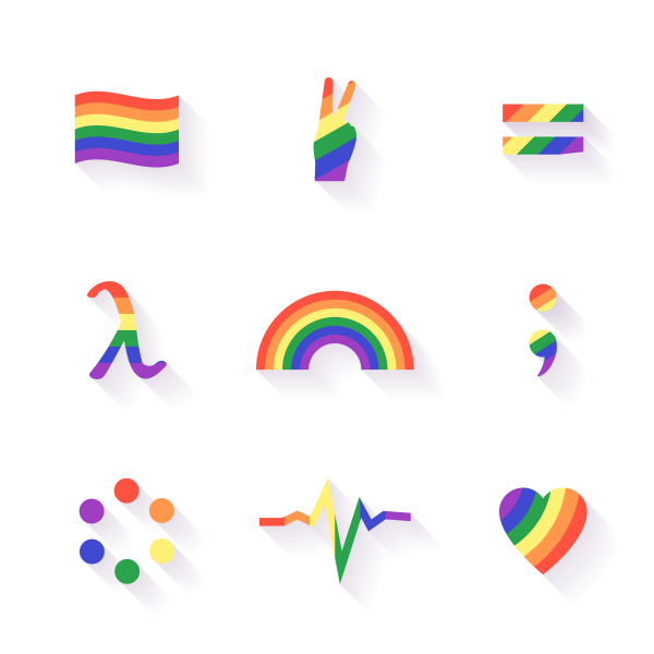 LGBT signs and symbols set