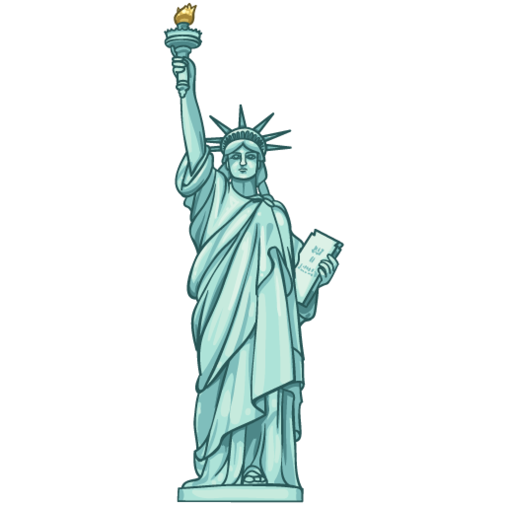 Statue of liberty clipart cardboard. Figurine clear background pencil