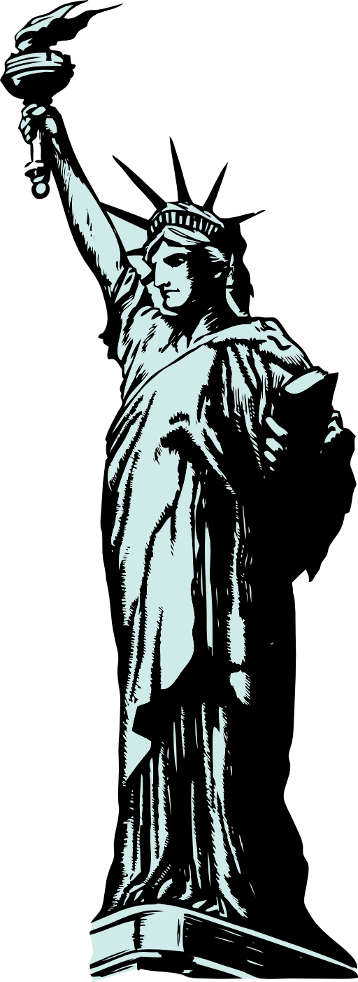 Liberty drawing black and white. Free statue of clipart